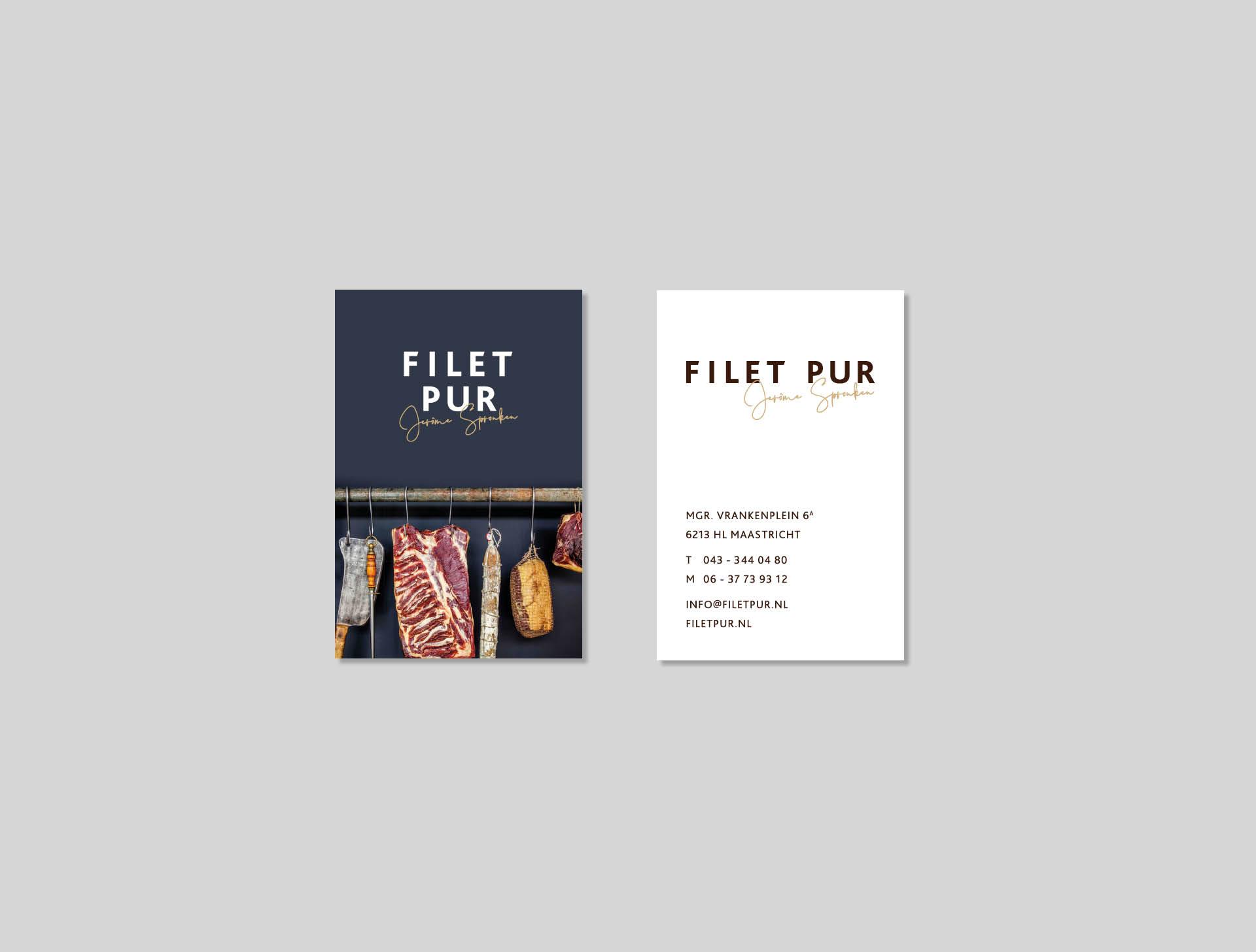 Filet Pur - visitekaartjes - huisstijl ontwerp - Ca Va Bien Maastricht